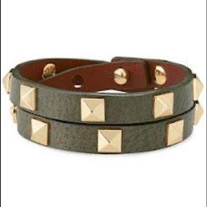 Stella & Dot Pyramid Double Wrap Bracelet Green